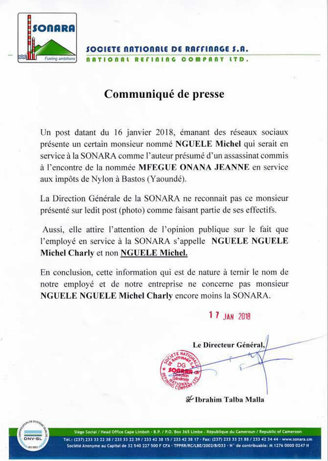 communique_sonara_affaire_onana_mfegue